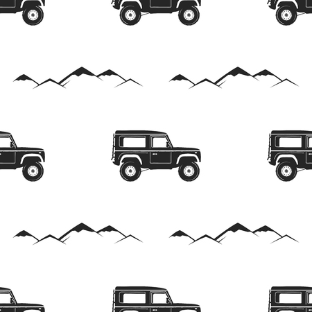 Camping Pattern Design - Adventure retro car and mountains symbols. Outdoors seamless background. Silhouette vintage style. Nice for camping adventure tee, apparel, packaging, prints. Stock vector