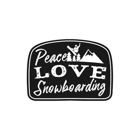 Snowboard retro logo with quote - Peace Love Snowboarding. Mountain Explorer Badge. Camping adventure emblem, monochrome. Features snowboarder jumping over the peak and trees. Stock vector isolated Illustration