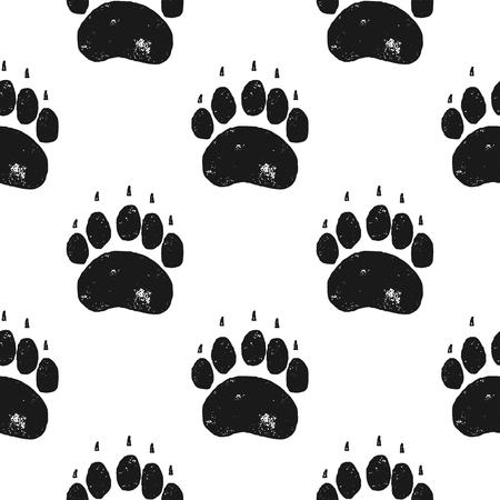 Bärentatze Muster. Nahtloser Hintergrund der Bärenklaue. Fußabdruck-Tapete. Vintage handgezeichnete Silhouette Stil. Vektorillustration auf Lager lokalisiert.