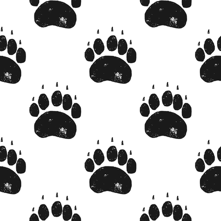 Bear paw pattern. Bear Claw seamless background. Footprint wallpaper. Vintage hand drawn silhoutte style. Stock Vector illustration isolated. Archivio Fotografico - 118870465
