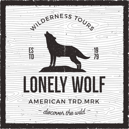 Vintage Adventure Card - Lonely wolf quote. Wilderness tours, american heritage logo. Retro hand drawn monochrome travel badge, patch. Stock vector hike, wanderlust insignia emblem