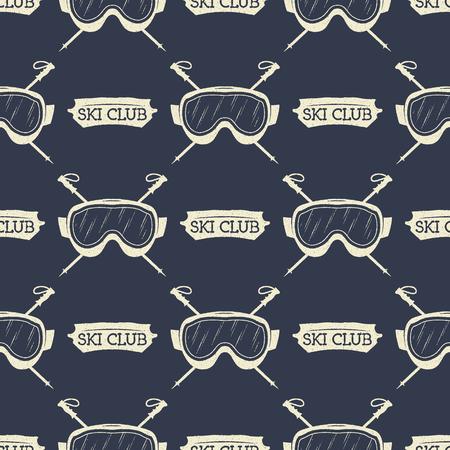 Fondo transparente de snowboard. Diseño de patrón de esquí de invierno con gafas de máscara de snowboard y elementos de tipografía. Stock vector. Estilo monocromático.