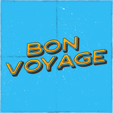 Vintage airplane poster. Bon voyage quote. Graphic typography label, emblem. Plane badge design. Aviation stamp. Fly old icon, card. Stock vector illustration.