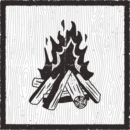 Camp fire hand drawn card. Vintage monochrome style with bonfire. Stock vector retro poster