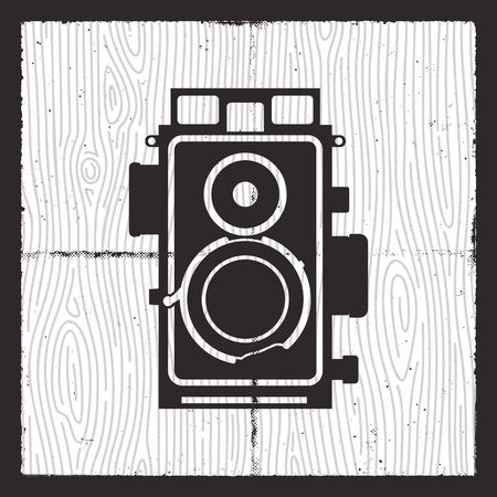 Retro camera card design. Silhouette vintage photography equipment. Nice for poster, t-shirt. Stock vector illustration