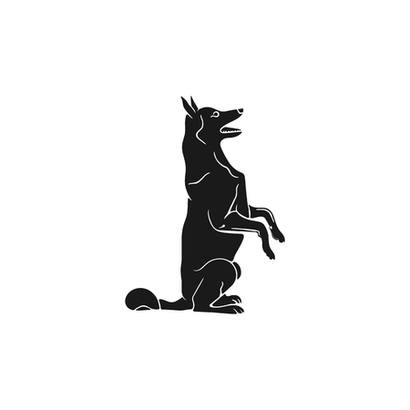 Shepherd silhouette icon. Monochrome sitting dog shape. Stock vector animal element for web or print. Isolated on white