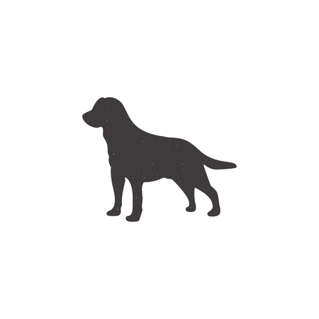 Labrador icon in silhouette style. Dog stand monochrome shape. Stpck vector illustration isolated on white Çizim