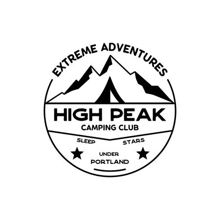 Extreme adventure Badge. High peak camping club emblem in silhouette retro style. Featuring mountains and tent. Travel logo, patch. Stock vector hiking label isolated on white background