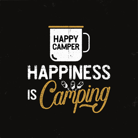 Hand drawn travel badge with camp mug, marshmallows and quote - Happiness is Camping. Stock vector wanderlust label isolated Çizim
