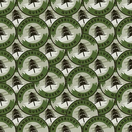 Conception de motifs de patchs de camping - Arrière-plan transparent d'aventure en plein air avec arbres et citation - reine de l'envie de voyager. Style de dessin animé inhabituel en détresse. Bon pour tee, vêtements, autres impressions. Vecteur d'actions