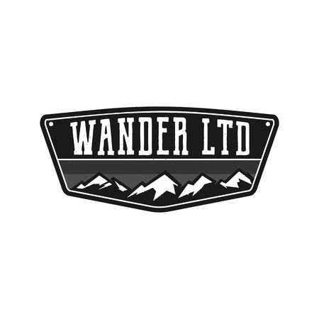 Mountain Illustration, outdoor adventure logo badge. Wander LTD text. Vintage hand drawn camping emblem in monochrome style. Stock vector label isolated on white background