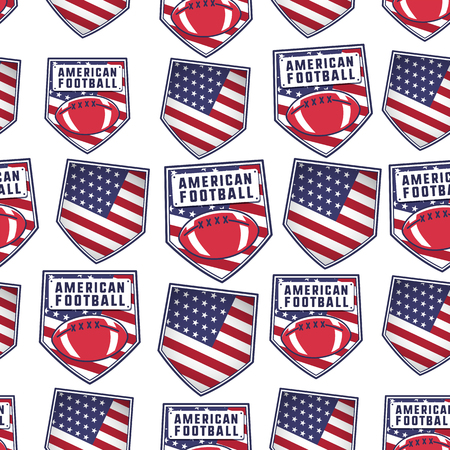 American football patch pattern design with USA flag, ball and typography elements. Rugby seamless background. Unusual sports wallpaper. Stock vector illustration