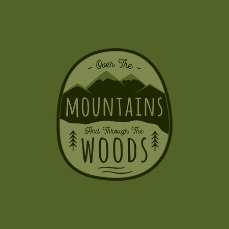 Hand drawn adventure logo with mountain, pine trees forest and quote - Over the Mountains and through the woods. Old style camp outdoors emblem in retro style. Stock vector illustration Çizim