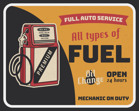 Fuel auto service vintage poster with retro gas pump and texts. Car service, parts and mechanic on duty, transport maintenance and repairing brochure. Garage station for automobiles. Stock Vector.