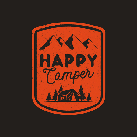 Hand drawn travel badge with mountains, trees, tent and quote - Happy camper. Camping emblem in retro style. Stock vector wanderlust label isolated