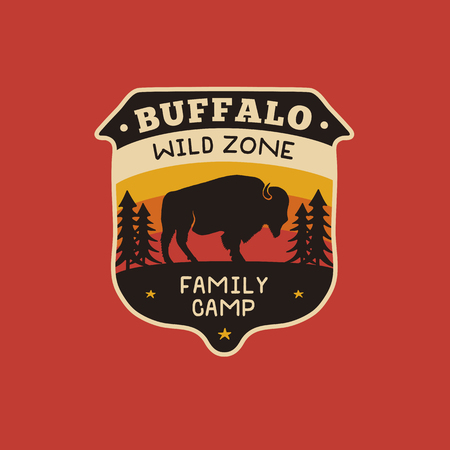 Vintage hand drawn wildlife logo patch with bison, forest and quote - Buffalo Wild Zone - Family Camp. Old style outdoors camping emblem in retro style for prints. Stock vector illustration