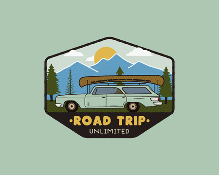 Vintage hand drawn road trip logo patch with carriding through the mountains landscape and quote - Road trip unlimited. Old style outdoors camping emblem in retro style for prints. Stock vector Illustration