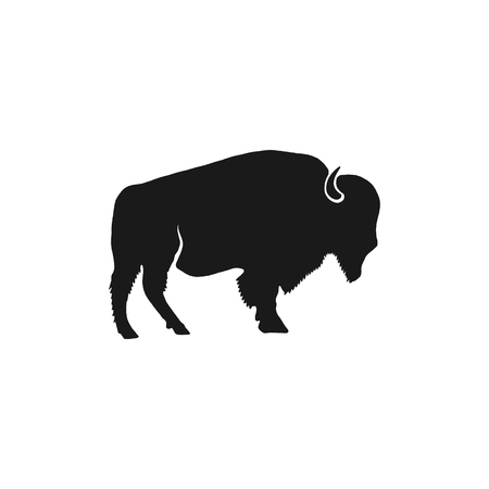 Buffalo icon silhouette. Retro letterpress effect. Bison black symbol pictogram isolated. Use for steak house logo, national park infographics, grill logotype. Stock Vector design