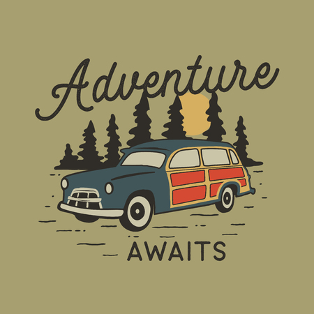 Vintage hand drawn travel badge with camp car, pine trees forest and quote - Adventure awaits. Old style adventure emblem in retro silhouette colors style. Stock vector wanderlust patch Çizim