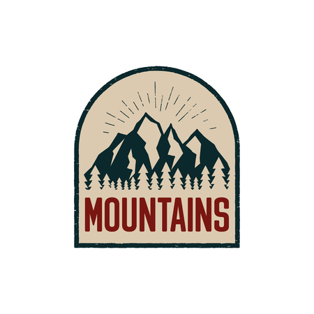 Vintage hand drawn adventure logo patch with mountains, forest. Outdoors camp emblem in retro style for prints. Stock vector illustration
