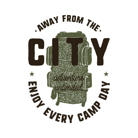 Hand drawn adventure logo with backpack and quote - Away from the city, enjoy every camp day. Monochrome outdoors emblem patch in retro style. Explorer badge. Stock vector isolated