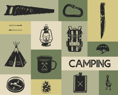 Camping icons set in silhouette retro style. Monochrome travel symbols, hiking shapes with tent, saw, compass etc. Stock vector elements collection