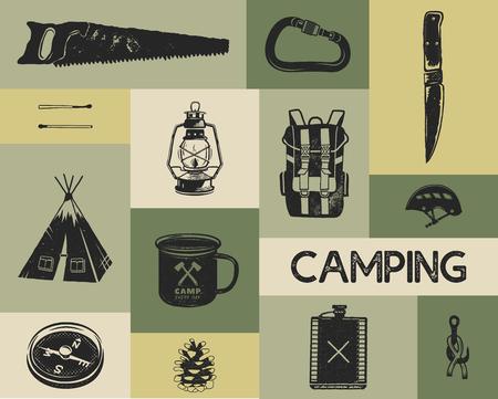 Camping-Symbole im Retro-Stil der Silhouette. Monochrome Reisesymbole, Wanderformen mit Zelt, Säge, Kompass usw. Sammlung von Vektorelementen auf Lager