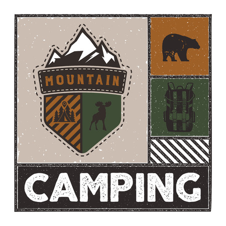 Vintage Hand drawn adventure illustration with camp logo, deer, backpack, bear and quote - Mountain Camping. Unusual outdoors emblem patch in retro style. Stock vector
