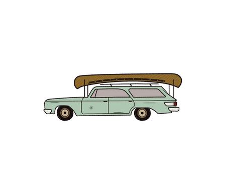 ヴィンテージ手描きキャンプカー。カヌーでレトロな交通機関。古いスタイルの自動車。Tシャツ、旅行マグカップ、オジェーアウトドアアドベンチャーアパレル、衣類プリントに最適です。ストックベクター分離 ベクターイラストレーション