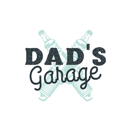Dad Garage Logo Badge with plug sparks. Autorepair service sign in typography old style. Stock vector emblem isolated