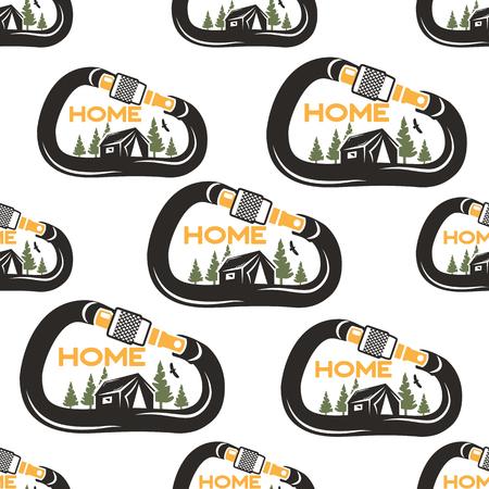 Campingmusterdesign mit Karabiner, Zelt, Adler und Wald. Natur mein Zuhause Konzept nahtlose Hintergrund. Ungewöhnlicher Cartoon-Distressed-Stil. Gut für T-Stück, andere Drucke. Vektorgrafik isoliert Vektorgrafik