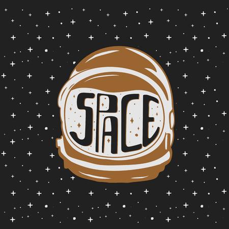 Casque d'astronaute vintage dessiné à la main avec des textes personnalisés - espace. Concept de voyage spatial. Emblème de vecteur stock isolé sur fond d'étoiles sombres. Bon pour les T-shirts, les tasses.