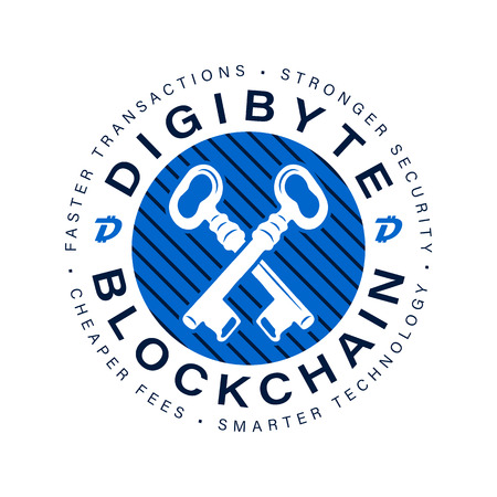 Digibyte blockchain logo mark. DGB Digital asset concept. Crypto emblem. Blockchain technology graphic sticker for printing. Stock vector tech illustration isolated on white background. Иллюстрация