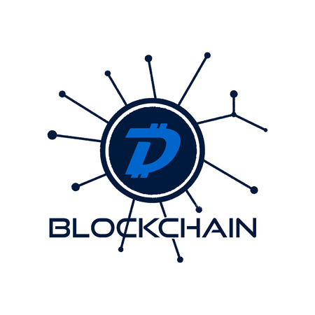 Digibyte blockchain logo graphic. DGB Digital asset concept. Crypto emblem. Blockchain technology sticker for printing. Stock vector tech illustration isolated on white background. Çizim