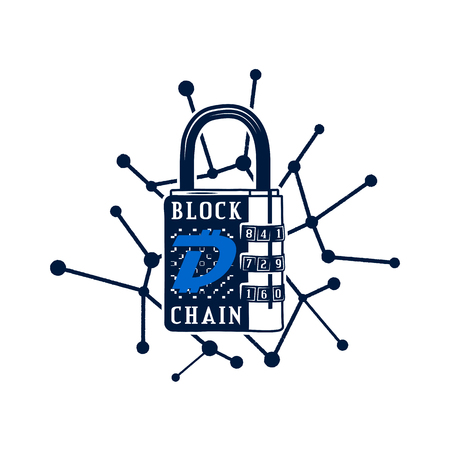 Digibyte blockchain logo graphic. DGB Digital asset concept. Crypto emblem with lock. Blockchain technology sticker for printing. Stock vector tech illustration isolated on white background. Çizim