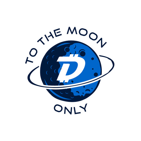 Digibyte badge concept. Digital asset DGB. To the moom only quote. Funny crypto emblem. Blockchain technology sticker for printing. Stock vector tech illustration isolated on white background.