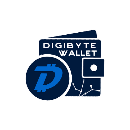 Digibyte wallet logo graphic. Digital asset concept. Crypto DGB emblem. Blockchain technology sticker for printing. Stock vector tech illustration isolated on white background.
