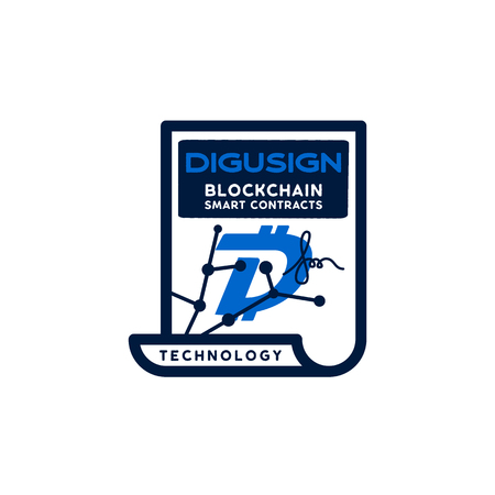 Digibyte blockchain logo graphic. DGB Digusign smart contracts concept. Crypto emblem. Blockchain technology sticker for printing. Stock vector tech illustration isolated on white background. Çizim