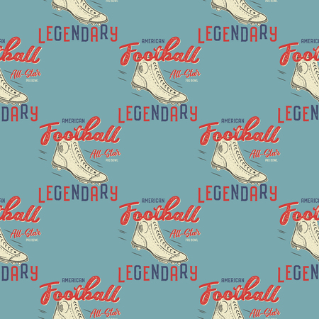Retro american footnall pattern. College rugby seamless graphic in retro style with old boots and quote - Legendary. Sports print on a blue background. Stock Vector wallpaper illustration. Illustration