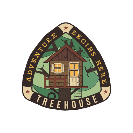 Camping badge illustration design. Unusual outdoor travel logo graphic with treehouse, trees and quote - Adventure begins here. Wanderlust old style patch for t-shirt and other uses. Stock vector