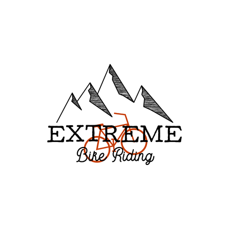 Vintage hand drawn adventure logo with mountains, bike and quote - Extreme bike riding. Simple linear graphic. Outdoors adventure insignia. Stock vector isolated