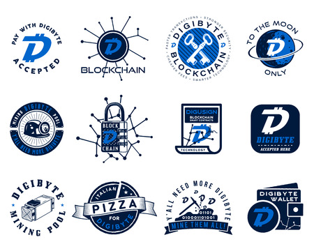 Digibyte logos set. Digital asset concept. Pay with DGB accepted, mining quotes. Crypto emblems. Blockchain technology stickers for printing. Stock vector tech illustrations isolated on white. Çizim