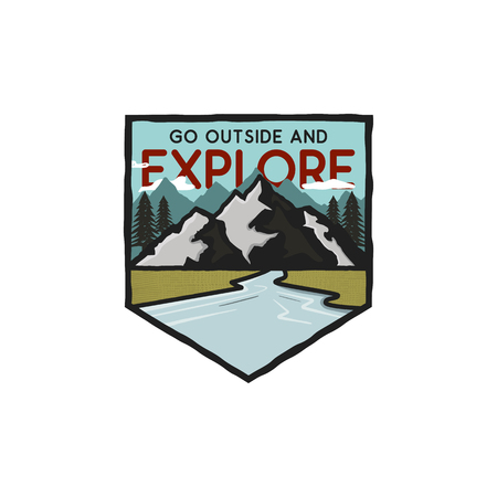 Vintage hand drawn adventure logo with mountains, river and quote - Go outside and explore. Old style outdoors adventure patch. Retro emblem graphic. Stock vector isolated Illustration