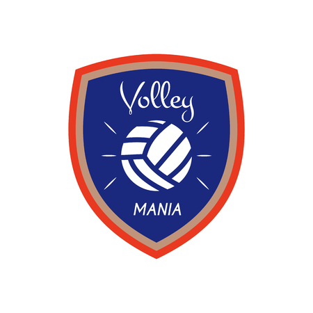 Volleyball logo template, badge. Volley mania with ball. Colorful label design for sports events or club. Stock vector isolated on white background Illustration