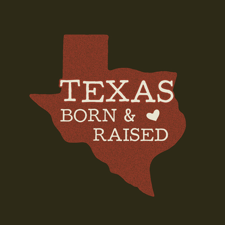 Texas state badge - Born Raised quote inside. Vintage hand drawn typography illustration. US state distressed patch. Silhouette retro style design. Nice for T-Shirt print, stamp. Stock vector