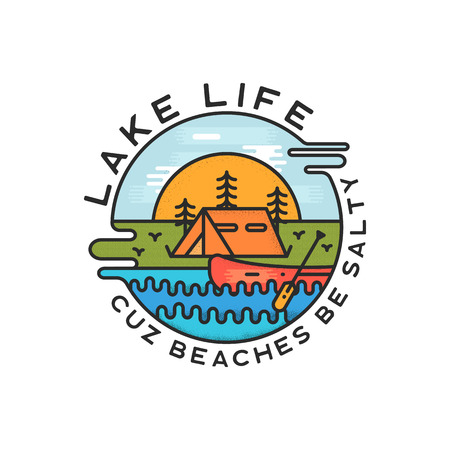 Lake Life Logo Design. Modern Liquid Dynamic Style. Travel adventure badge patch with quote - Cuz beaches be salty. Funny camping insignia label for print t-shirt. Stock vector isolate Reklamní fotografie - 126452599