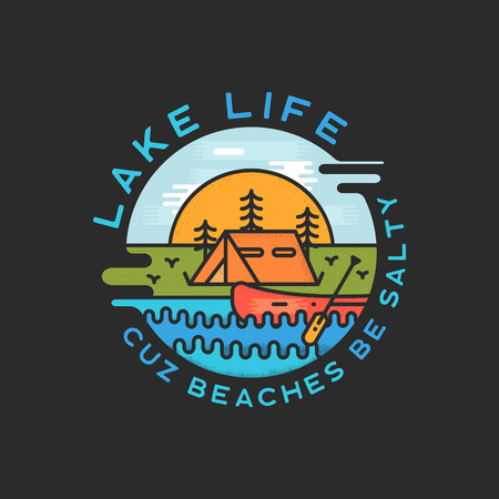 Lake Life Logo Design. Modern Liquid Dynamic Style. Travel adventure badge patch with quote - Cuz beaches be salty. Funny camping insignia label for print t-shirt. Stock vector