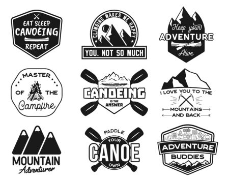 Vintage canoe kayaking logos patches set. Hand drawn camping labels designs. Mountain expedition, canoeing. Outdoor emblems for t shirts. Silhouette illustrations collection. Stock vector isolated