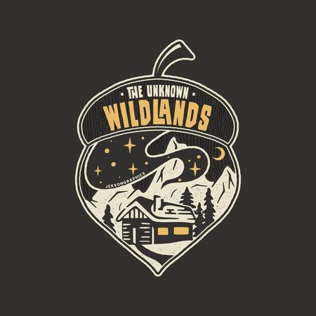 Camping badge acorn illustration design. Outdoor logo with quote - The unknown wildlands, for t shirt. Included retro mountains, woods house. Unusual hipster style patch. Stock vector emblem Banque d'images - 126452644