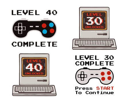 Happy 40th and 30th birthday graphic tee design set for T-Shirts, posters, prints. Retro video gamers controller and quote - level 40 unlocked. Funny illustration for birthday decor. Stock vector.